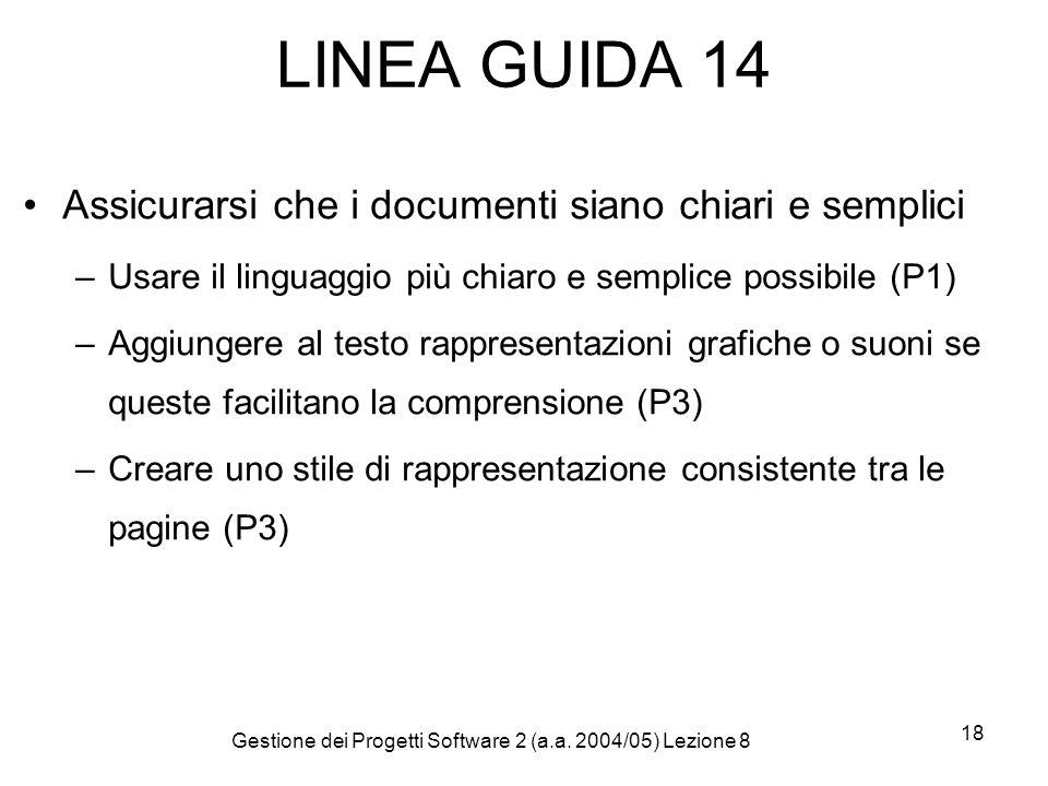 Gestione dei Progetti Software 2 (a.a. 2004/05) Lezione 8 18 LINEA GUIDA 14 Assicurarsi che i documenti siano chiari e semplici –Usare il linguaggio p