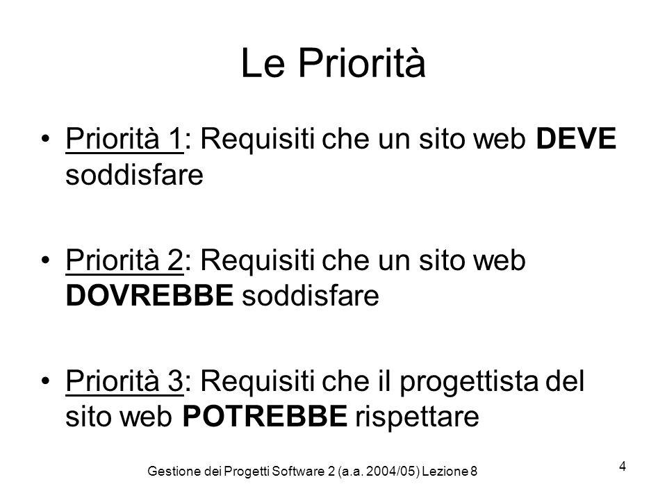Gestione dei Progetti Software 2 (a.a. 2004/05) Lezione 8 4 Le Priorità Priorità 1: Requisiti che un sito web DEVE soddisfare Priorità 2: Requisiti ch