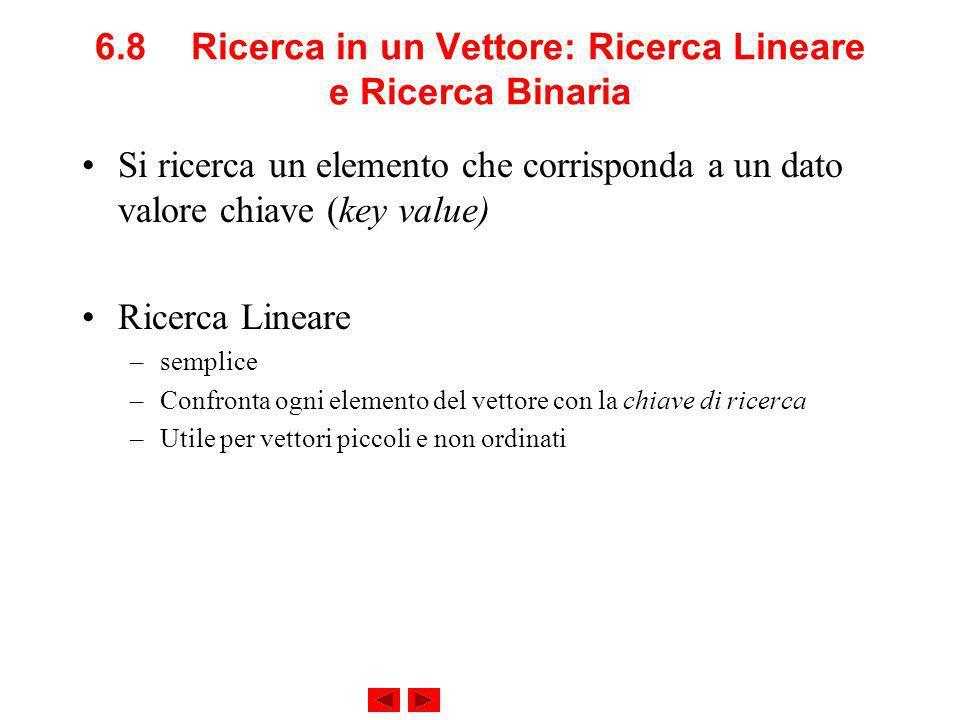 6.8Ricerca in un Vettore: Ricerca Lineare e Ricerca Binaria Si ricerca un elemento che corrisponda a un dato valore chiave (key value) Ricerca Lineare –semplice –Confronta ogni elemento del vettore con la chiave di ricerca –Utile per vettori piccoli e non ordinati
