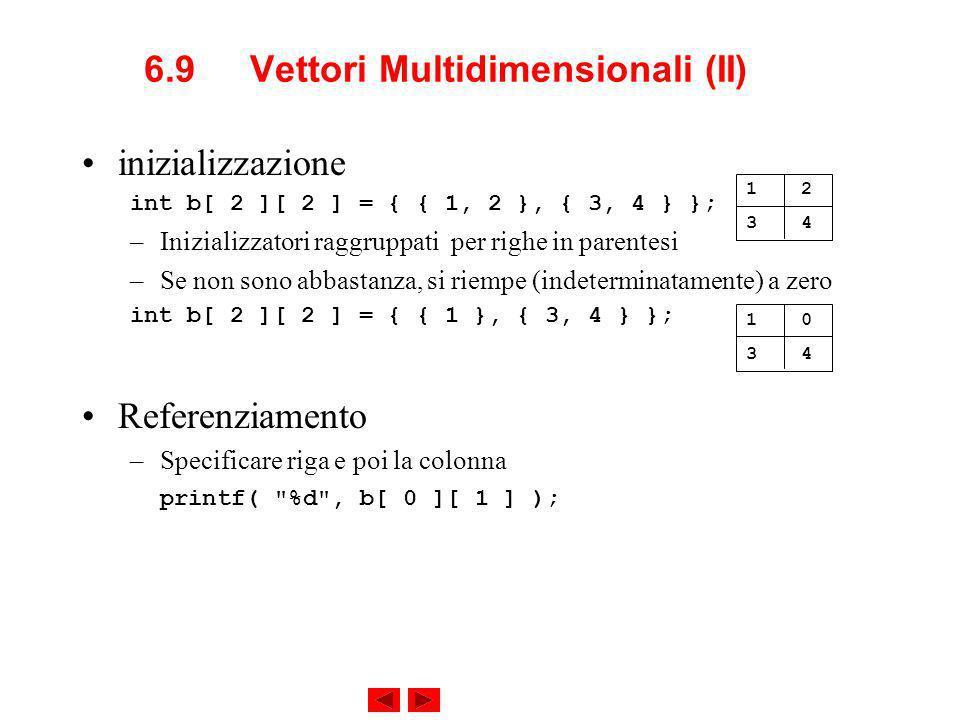 6.9 Vettori Multidimensionali (II) inizializzazione int b[ 2 ][ 2 ] = { { 1, 2 }, { 3, 4 } }; –Inizializzatori raggruppati per righe in parentesi –Se non sono abbastanza, si riempe (indeterminatamente) a zero int b[ 2 ][ 2 ] = { { 1 }, { 3, 4 } }; Referenziamento –Specificare riga e poi la colonna printf( %d , b[ 0 ][ 1 ] ); 1 2 3 4 1 0 3 4