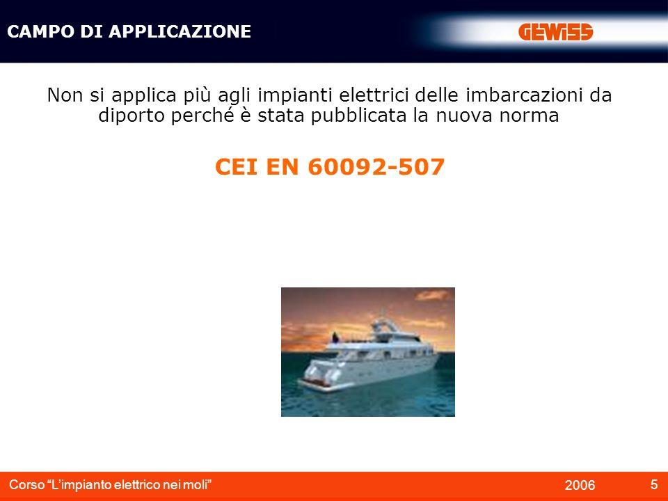 6 2006 Corso Limpianto elettrico nei moli DEFINIZIONI