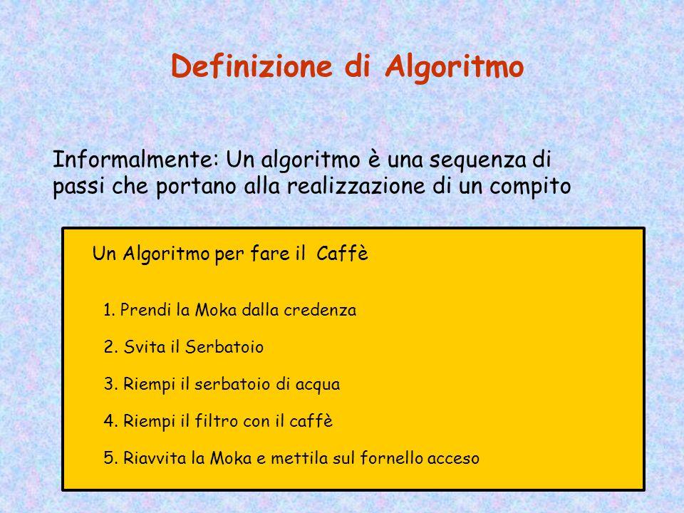 Definizione di Algoritmo Informalmente: Un algoritmo è una sequenza di passi che portano alla realizzazione di un compito Un Algoritmo per fare il Caffè 1.