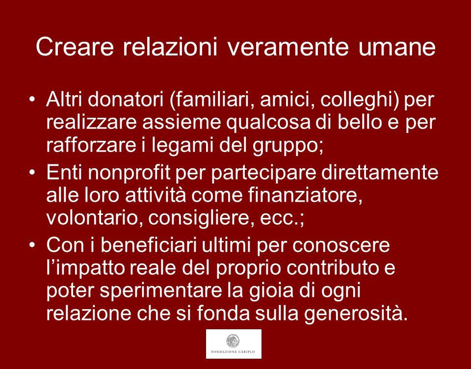 Creare relazioni veramente umane Altri donatori (familiari, amici, colleghi) per realizzare assieme qualcosa di bello e per rafforzare i legami del gr