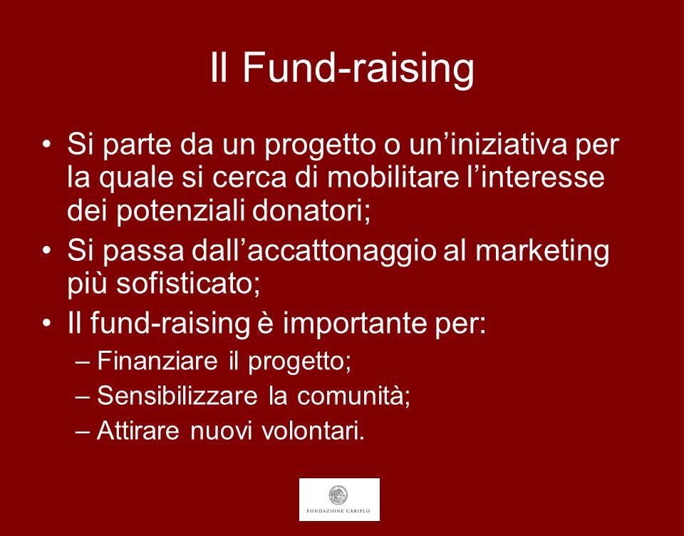 Il Fund-raising Si parte da un progetto o uniniziativa per la quale si cerca di mobilitare linteresse dei potenziali donatori; Si passa dallaccattonag