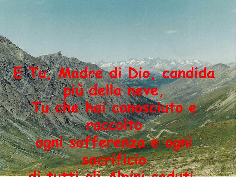 E Tu, Madre di Dio, candida più della neve, Tu che hai conosciuto e raccolto ogni sofferenza e ogni sacrificio di tutti gli Alpini caduti,