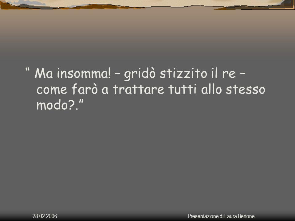 28.02.2006Presentazione di Laura Bertone Maestà – disse Sberleffo – per trattare tutti allo stesso modo bisogna, prima di tutto, riconoscere che ciascuno è diverso dagli altri.