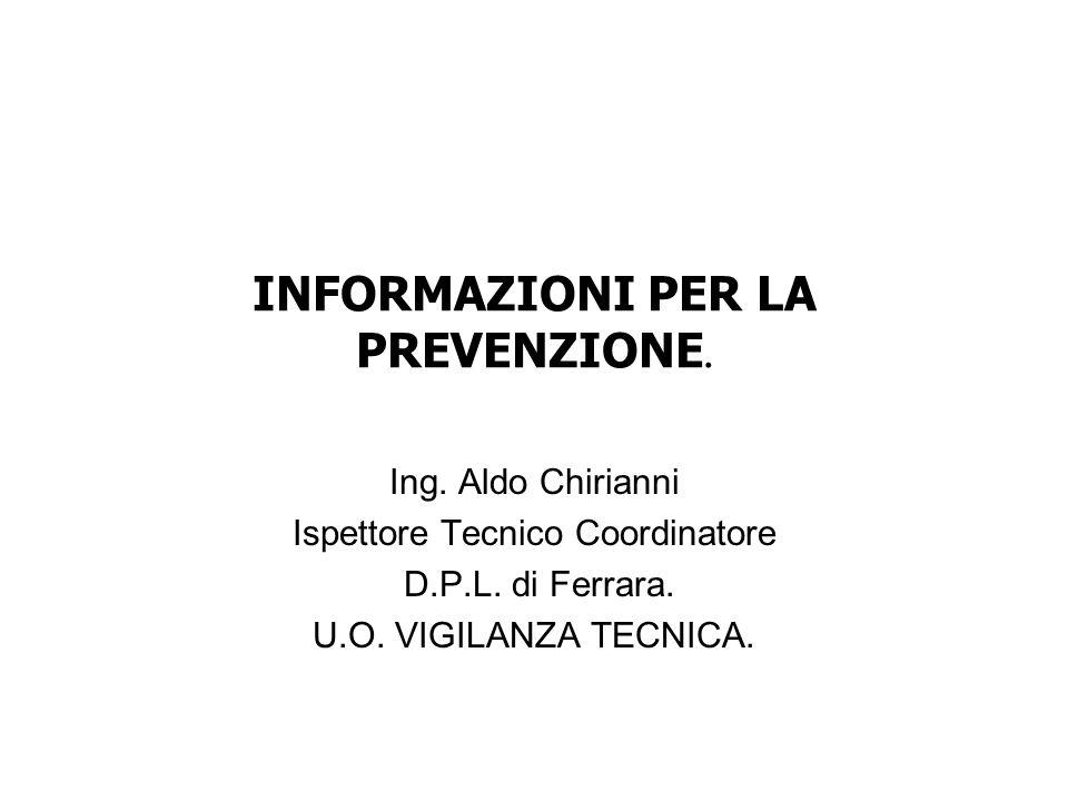 INFORMAZIONI PER LA PREVENZIONE. Ing. Aldo Chirianni Ispettore Tecnico Coordinatore D.P.L. di Ferrara. U.O. VIGILANZA TECNICA.