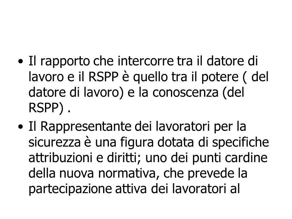 Il rapporto che intercorre tra il datore di lavoro e il RSPP è quello tra il potere ( del datore di lavoro) e la conoscenza (del RSPP). Il Rappresenta