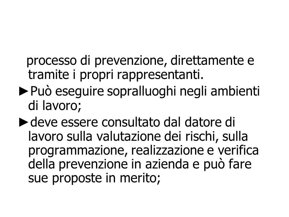 processo di prevenzione, direttamente e tramite i propri rappresentanti. Può eseguire sopralluoghi negli ambienti di lavoro; deve essere consultato da