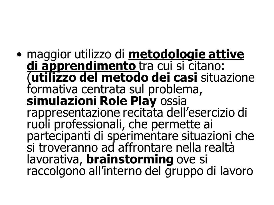 maggior utilizzo di metodologie attive di apprendimento tra cui si citano: (utilizzo del metodo dei casi situazione formativa centrata sul problema, s