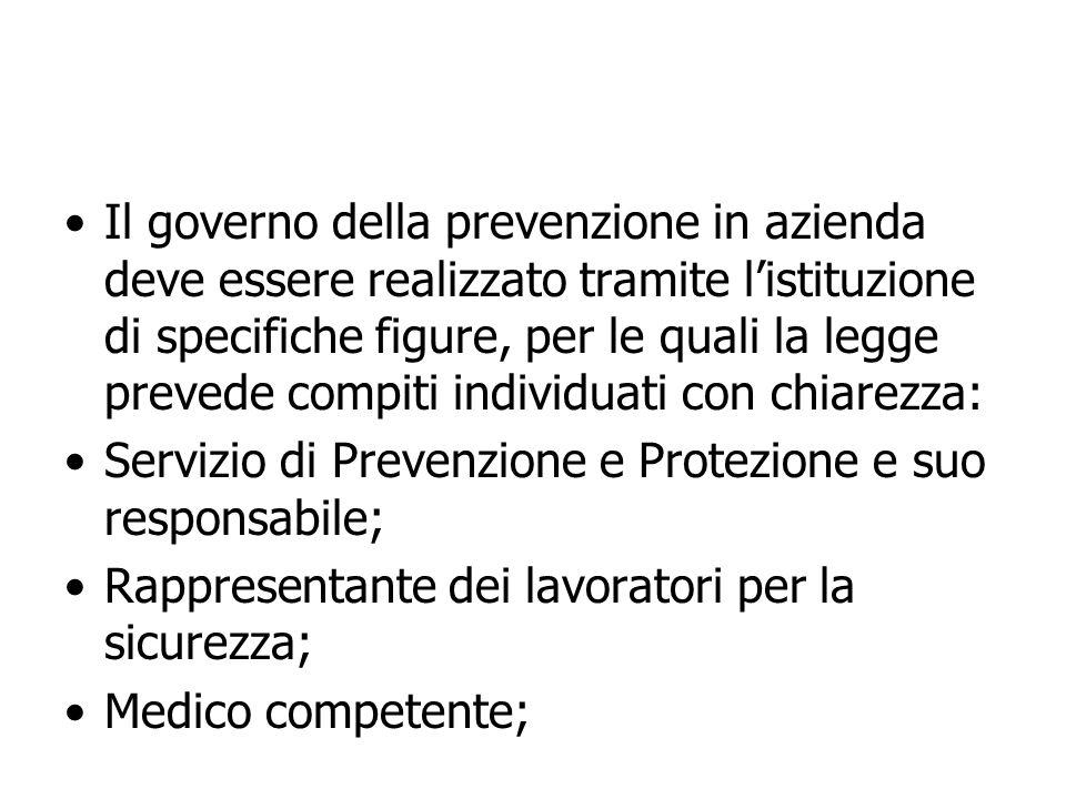Il governo della prevenzione in azienda deve essere realizzato tramite listituzione di specifiche figure, per le quali la legge prevede compiti indivi