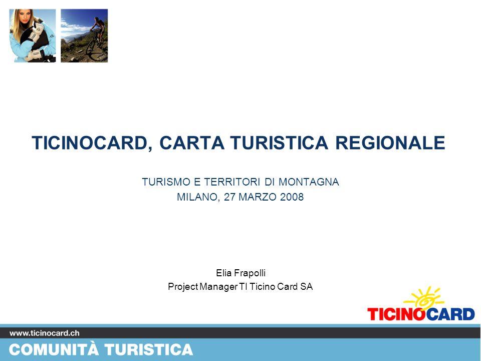 Potenziale di mercato Analisi di mercato 7 regioni di riferimento 1000 intervistati Scarsa conoscenza del territorio ticinese Forte interesse per una Carta Turistica Forte potenziale di mercato non ancora sfruttato