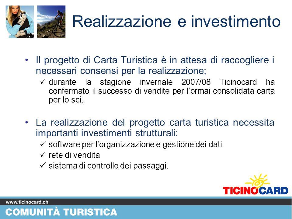 Realizzazione e investimento Il progetto di Carta Turistica è in attesa di raccogliere i necessari consensi per la realizzazione; durante la stagione invernale 2007/08 Ticinocard ha confermato il successo di vendite per lormai consolidata carta per lo sci.
