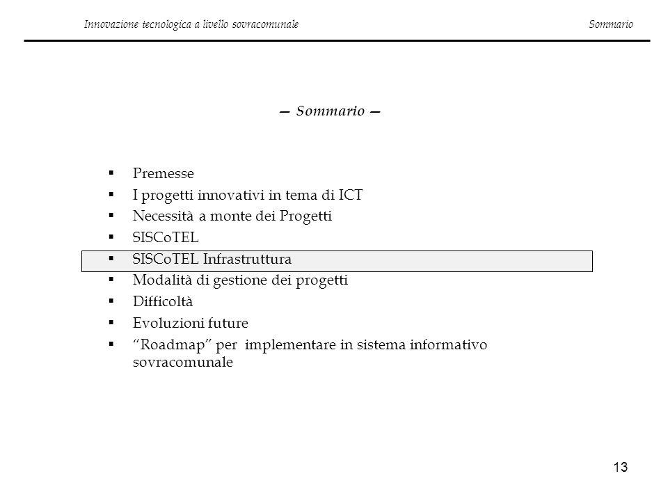13 Innovazione tecnologica a livello sovracomunale Sommario Premesse I progetti innovativi in tema di ICT Necessità a monte dei Progetti SISCoTEL SISC