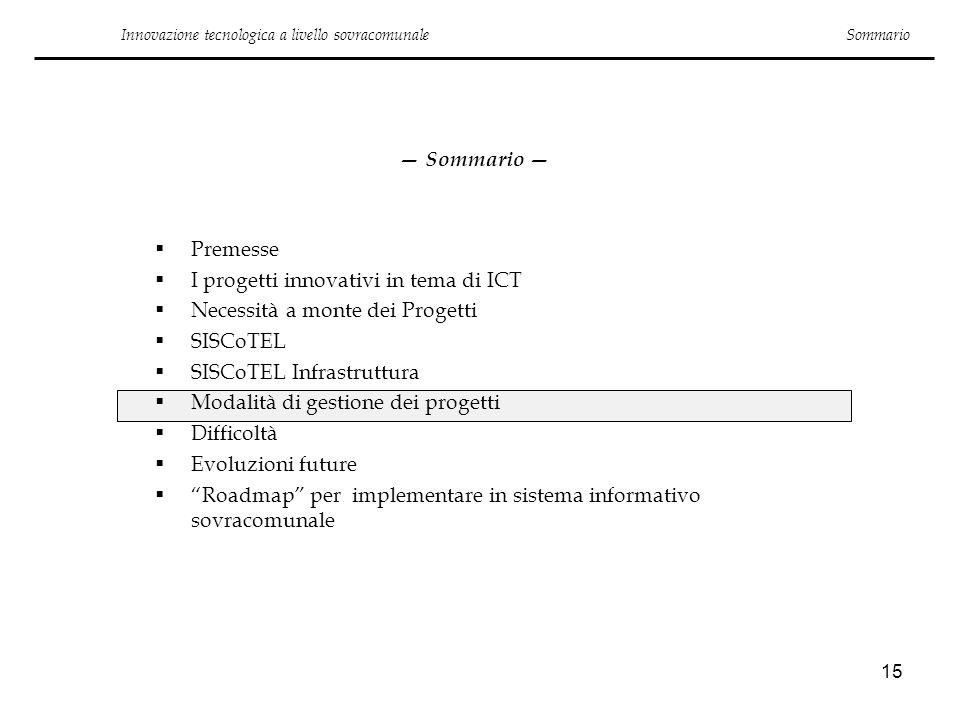 15 Innovazione tecnologica a livello sovracomunale Sommario Premesse I progetti innovativi in tema di ICT Necessità a monte dei Progetti SISCoTEL SISC