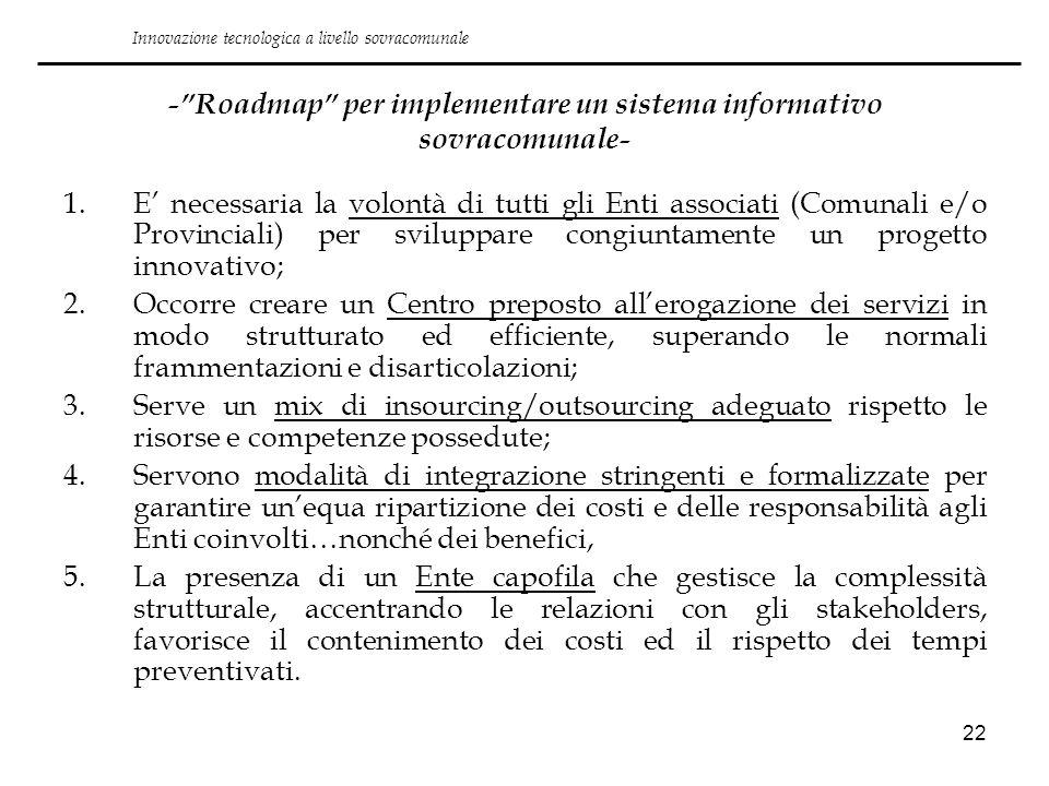 22 -Roadmap per implementare un sistema informativo sovracomunale- 1.E necessaria la volontà di tutti gli Enti associati (Comunali e/o Provinciali) pe