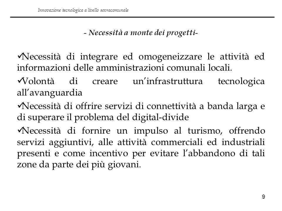 9 - Necessità a monte dei progetti- Necessità di integrare ed omogeneizzare le attività ed informazioni delle amministrazioni comunali locali. Volontà