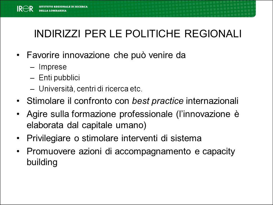 INDIRIZZI PER LE POLITICHE REGIONALI Favorire innovazione che può venire da –Imprese –Enti pubblici –Università, centri di ricerca etc. Stimolare il c