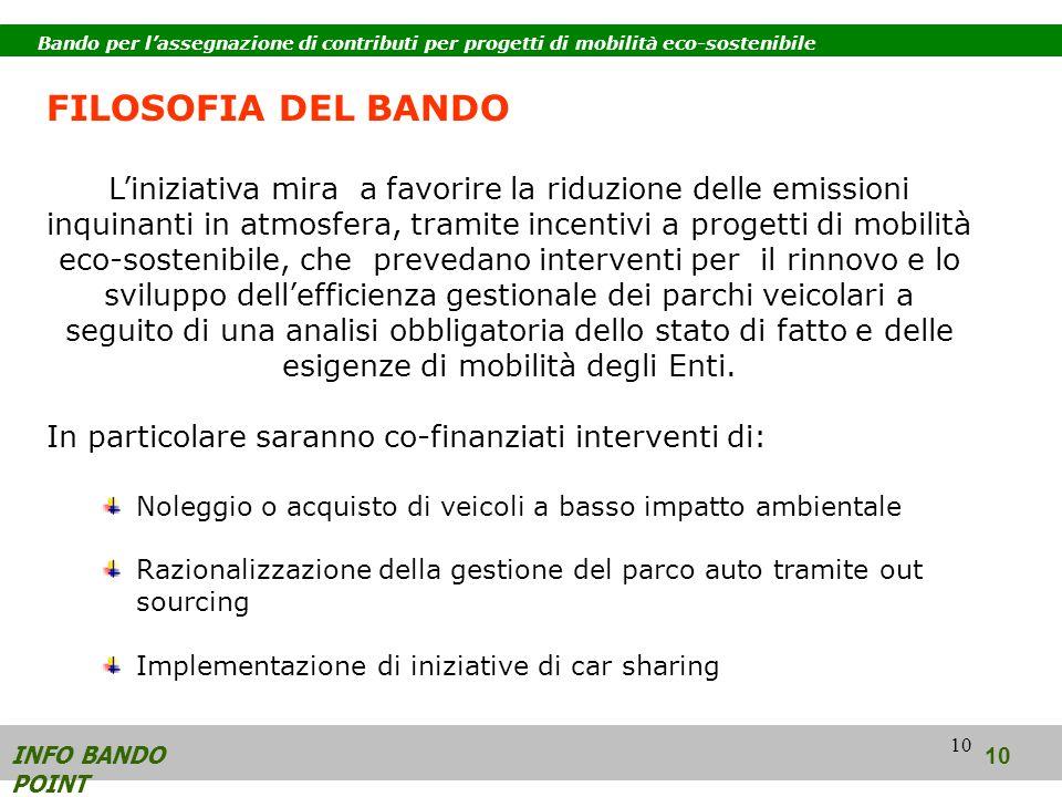 10 FILOSOFIA DEL BANDO Liniziativa mira a favorire la riduzione delle emissioni inquinanti in atmosfera, tramite incentivi a progetti di mobilità eco-sostenibile, che prevedano interventi per il rinnovo e lo sviluppo dellefficienza gestionale dei parchi veicolari a seguito di una analisi obbligatoria dello stato di fatto e delle esigenze di mobilità degli Enti.