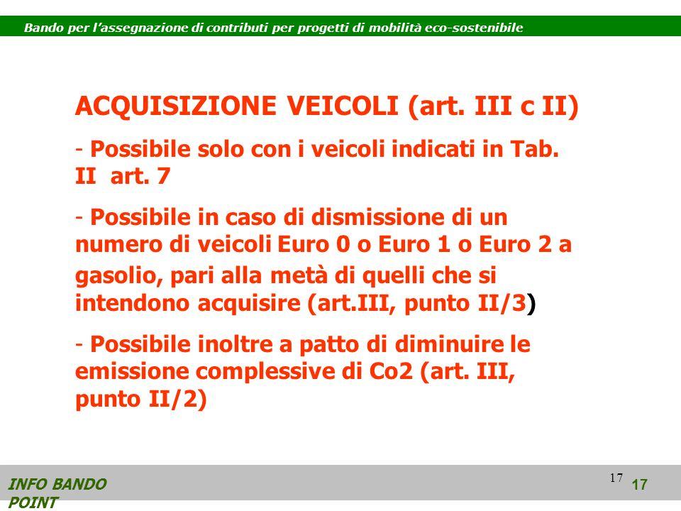 17 INFO BANDO POINT 17 Bando per lassegnazione di contributi per progetti di mobilità eco-sostenibile ACQUISIZIONE VEICOLI (art.