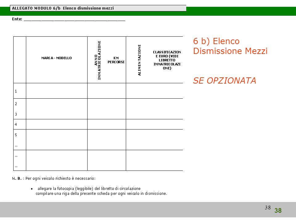 38 6 b) Elenco Dismissione Mezzi SE OPZIONATA