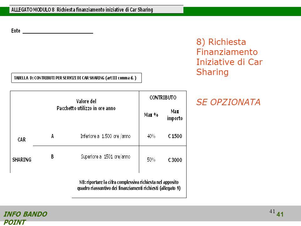 41 INFO BANDO POINT 41 8) Richiesta Finanziamento Iniziative di Car Sharing SE OPZIONATA