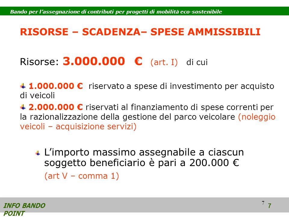 7 RISORSE – SCADENZA– SPESE AMMISSIBILI Risorse: 3.000.000 (art.