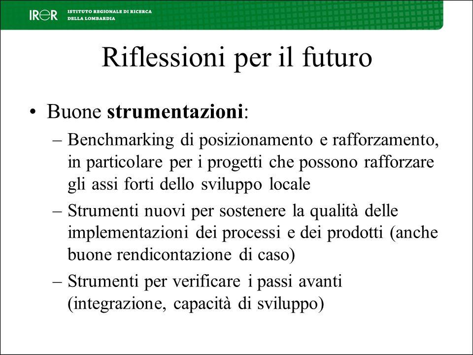Riflessioni per il futuro Buone strumentazioni: –Benchmarking di posizionamento e rafforzamento, in particolare per i progetti che possono rafforzare
