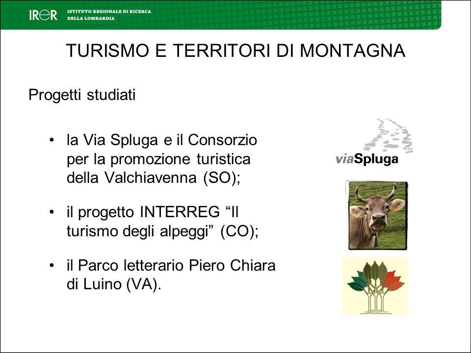 TURISMO E TERRITORI DI MONTAGNA Progetti studiati la Via Spluga e il Consorzio per la promozione turistica della Valchiavenna (SO); il progetto INTERREG Il turismo degli alpeggi (CO); il Parco letterario Piero Chiara di Luino (VA).