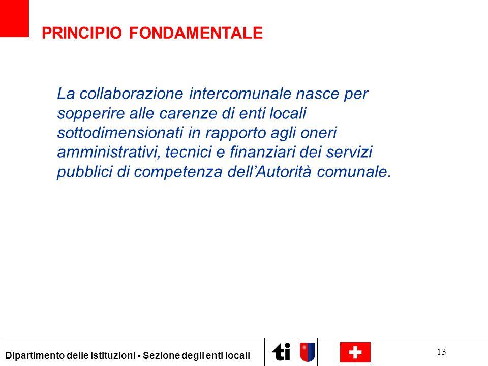 13 Dipartimento delle istituzioni - Sezione degli enti locali La collaborazione intercomunale nasce per sopperire alle carenze di enti locali sottodim