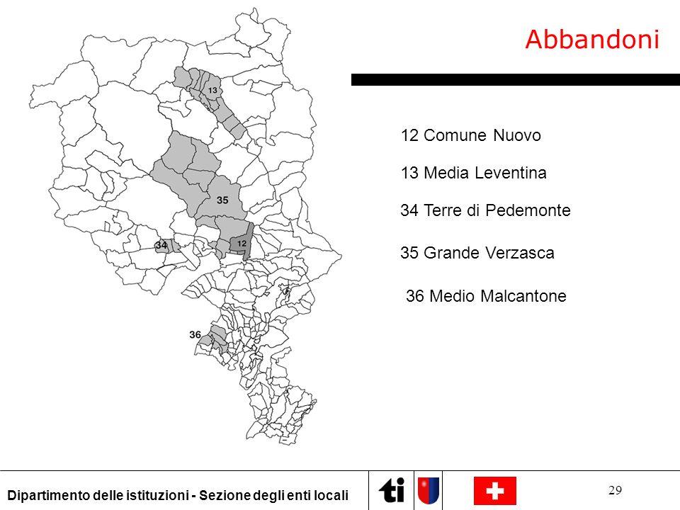 29 Dipartimento delle istituzioni - Sezione degli enti locali Abbandoni 13 Media Leventina 12 Comune Nuovo 34 Terre di Pedemonte 35 Grande Verzasca 36