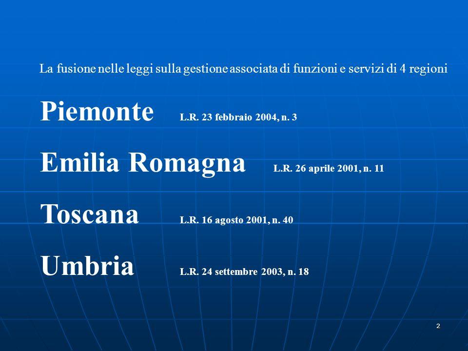 2 La fusione nelle leggi sulla gestione associata di funzioni e servizi di 4 regioni Piemonte L.R.
