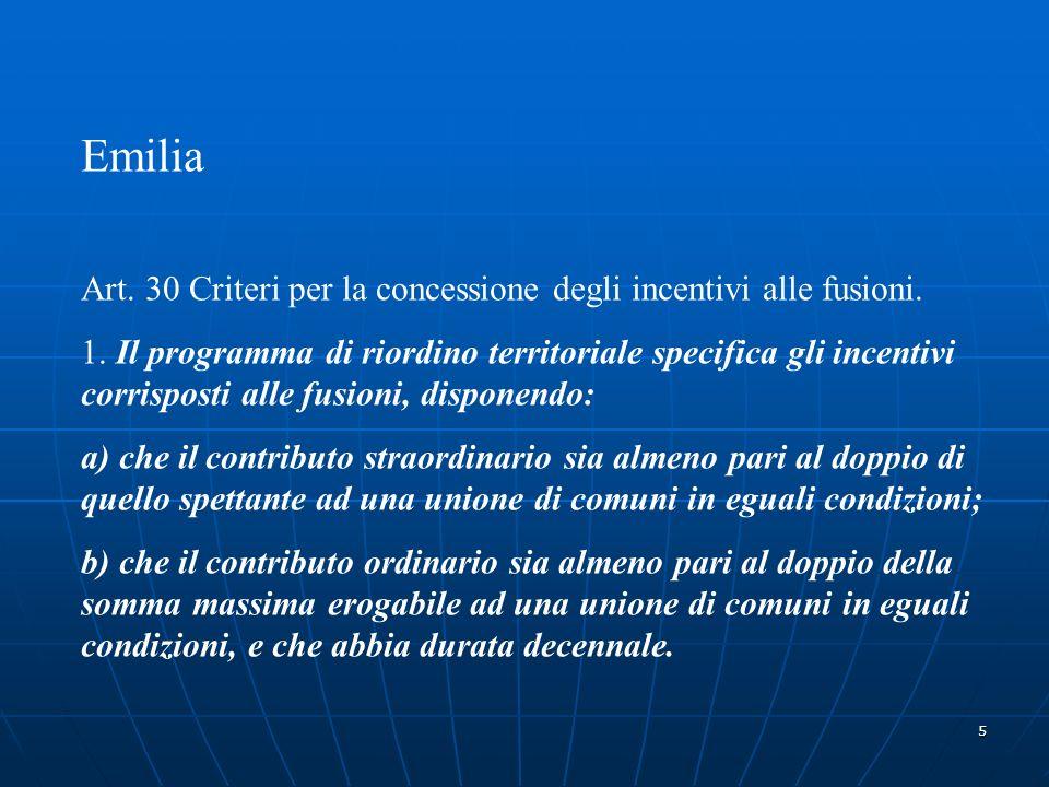 5 Emilia Art. 30 Criteri per la concessione degli incentivi alle fusioni.