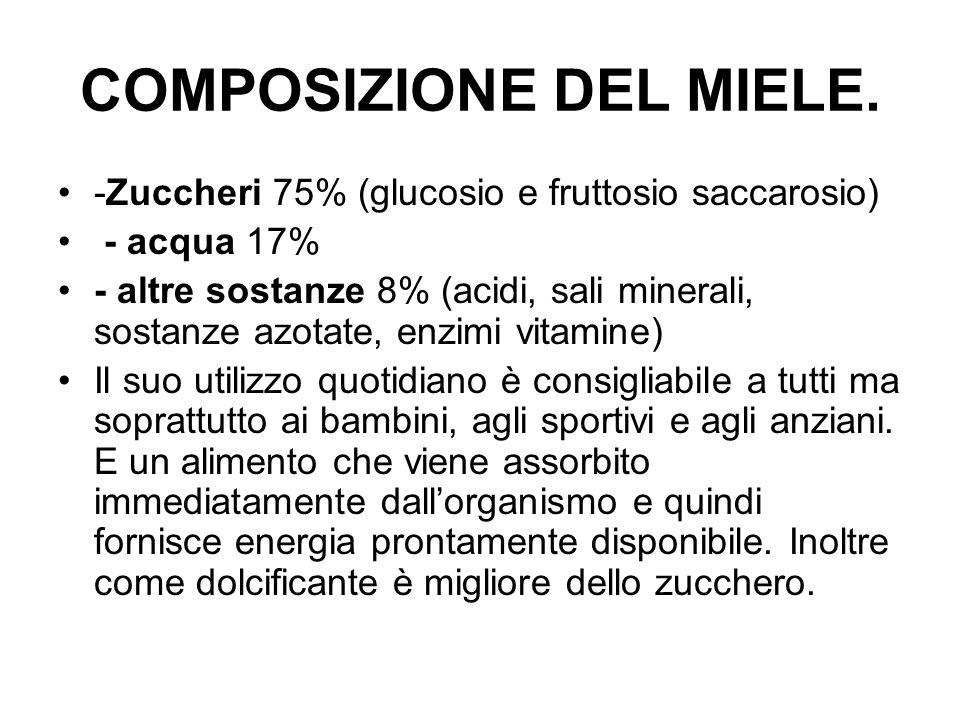 COMPOSIZIONE DEL MIELE. -Zuccheri 75% (glucosio e fruttosio saccarosio) - acqua 17% - altre sostanze 8% (acidi, sali minerali, sostanze azotate, enzim