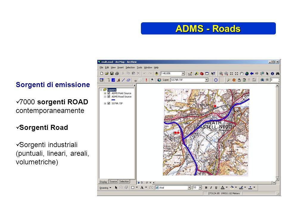Sorgenti di emissione 7000 sorgenti ROAD contemporaneamente Sorgenti Road Sorgenti industriali (puntuali, lineari, areali, volumetriche) ADMS - Roads
