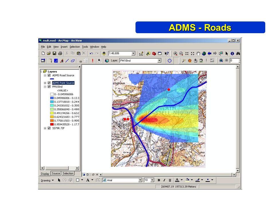 Plot 2D ADMS - Roads