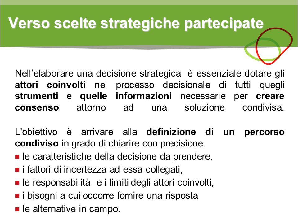 Verso scelte strategiche partecipate Verso scelte strategiche partecipate Nellelaborare una decisione strategica è essenziale dotare gli attori coinvo