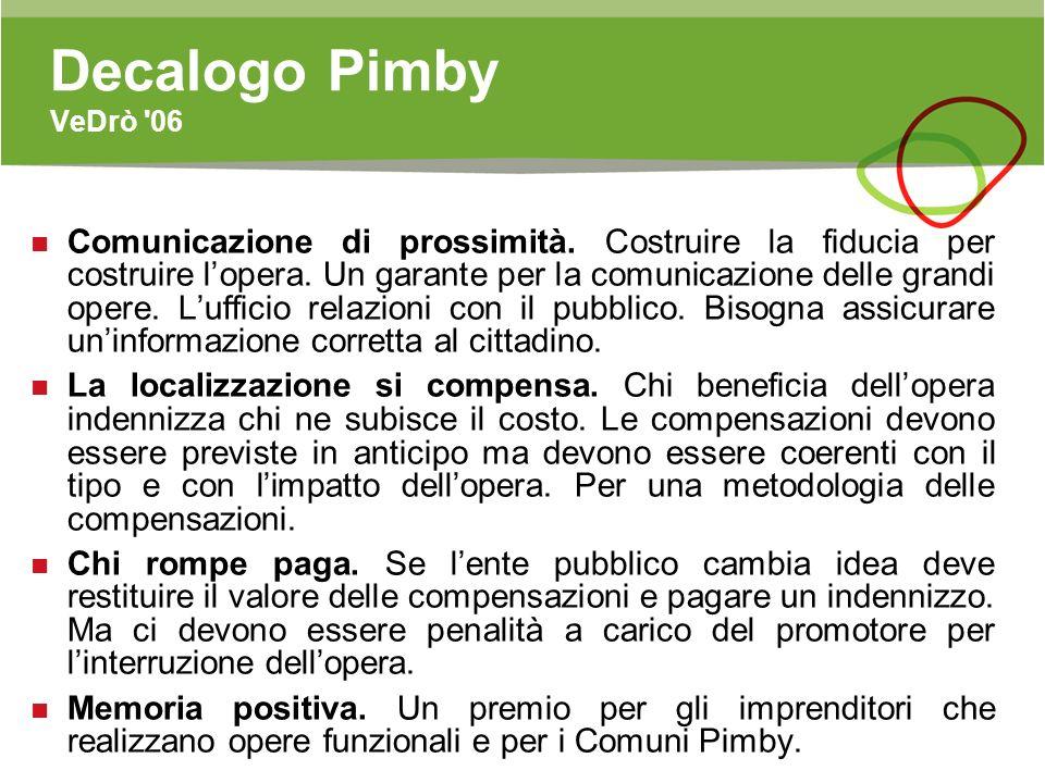 Decalogo Pimby VeDrò '06 Comunicazione di prossimità. Costruire la fiducia per costruire lopera. Un garante per la comunicazione delle grandi opere. L