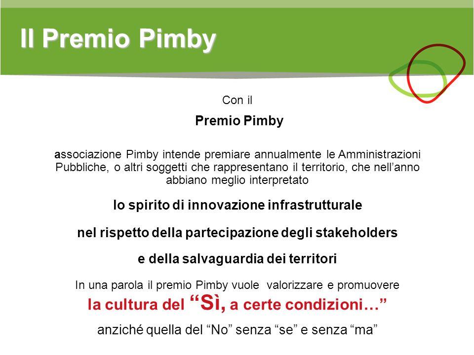 Il Premio Pimby Con il Premio Pimby associazione Pimby intende premiare annualmente le Amministrazioni Pubbliche, o altri soggetti che rappresentano i