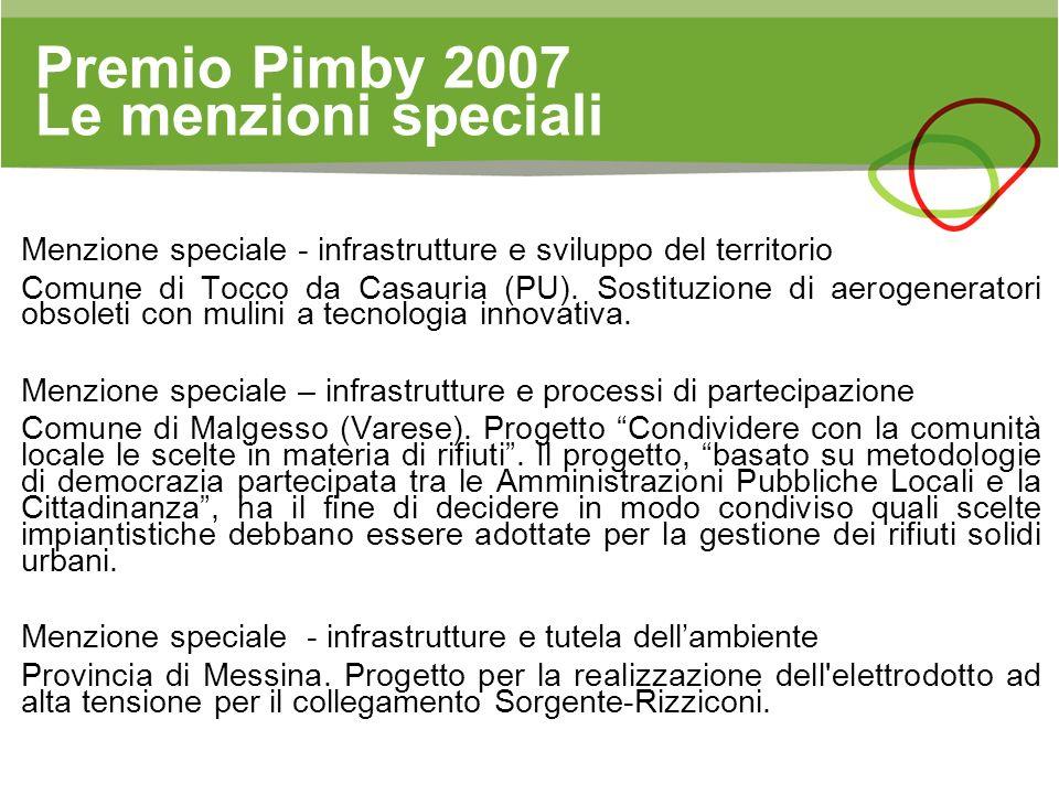Premio Pimby 2007 Le menzioni speciali Menzione speciale - infrastrutture e sviluppo del territorio Comune di Tocco da Casauria (PU). Sostituzione di