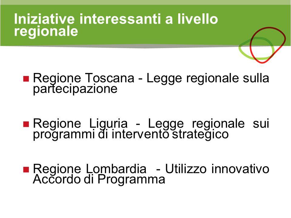 Iniziative interessanti a livello regionale Regione Toscana - Legge regionale sulla partecipazione Regione Liguria - Legge regionale sui programmi di