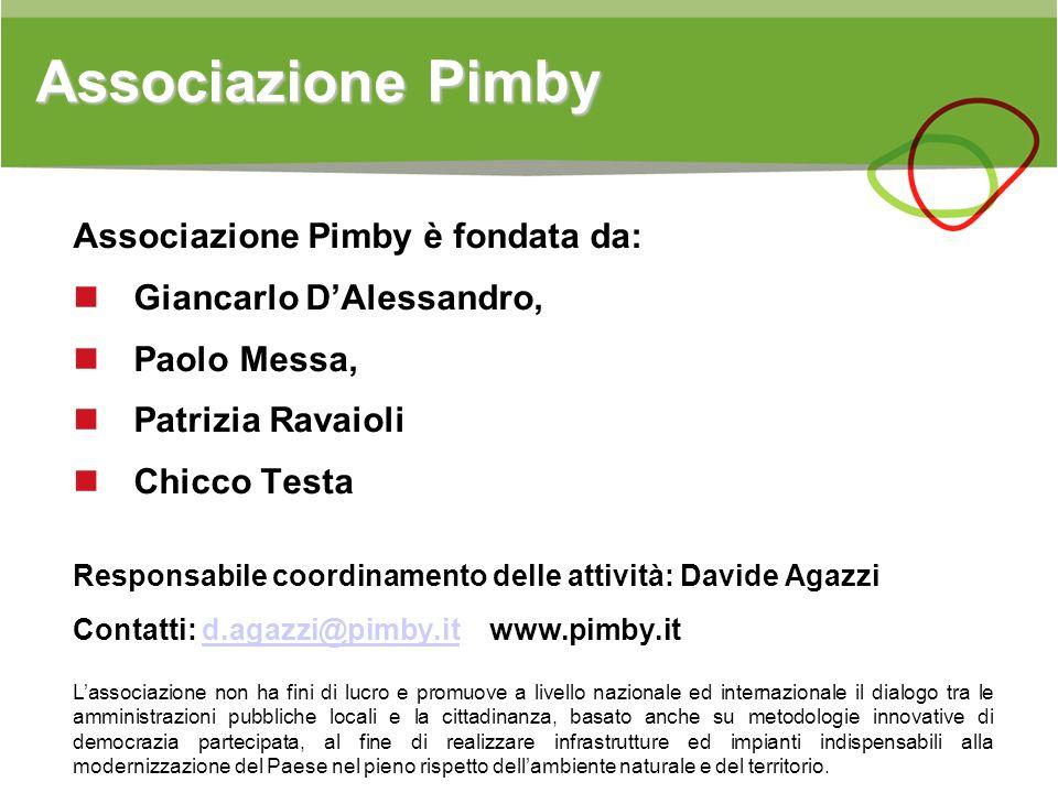 Associazione Pimby Associazione Pimby è fondata da: Giancarlo DAlessandro, Paolo Messa, Patrizia Ravaioli Chicco Testa Responsabile coordinamento dell