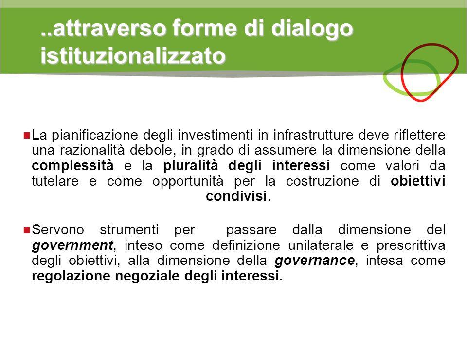 ..attraverso forme di dialogo istituzionalizzato La pianificazione degli investimenti in infrastrutture deve riflettere una razionalità debole, in gra