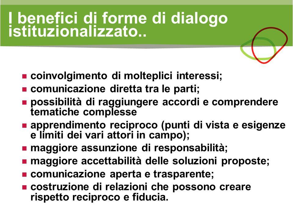 I benefici di forme di dialogo istituzionalizzato.. coinvolgimento di molteplici interessi; comunicazione diretta tra le parti; possibilità di raggiun