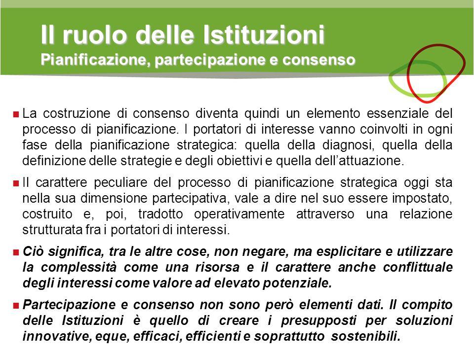 Il ruolo delle Istituzioni Pianificazione, partecipazione e consenso La costruzione di consenso diventa quindi un elemento essenziale del processo di