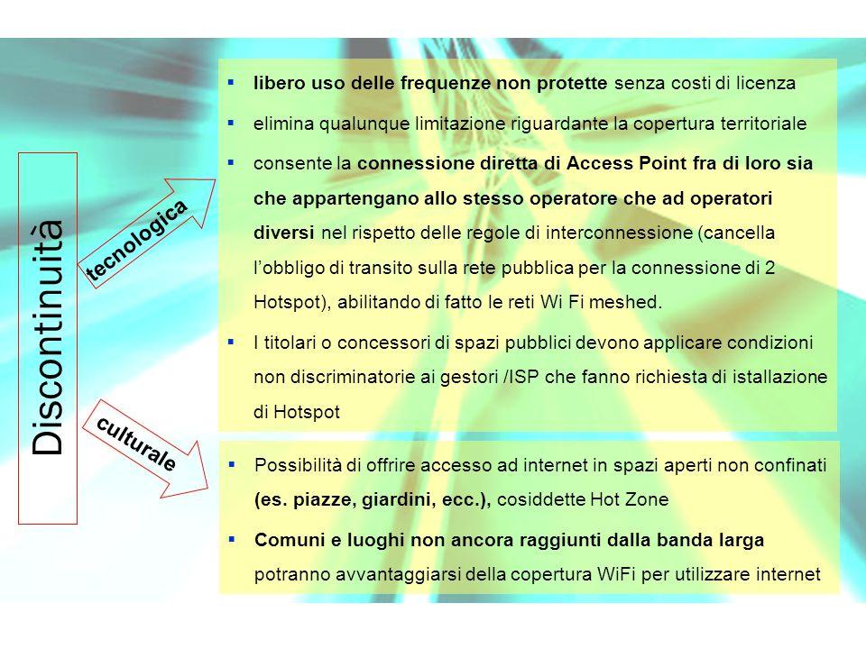 Possibilità di offrire accesso ad internet in spazi aperti non confinati (es.