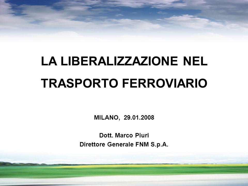 PROFILO DEL GRUPPO LA LIBERALIZZAZIONE NEL TRASPORTO FERROVIARIO MILANO, 29.01.2008 Dott. Marco Piuri Direttore Generale FNM S.p.A.