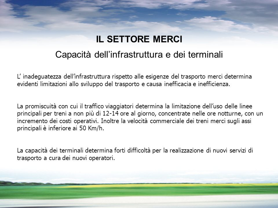 PROFILO DEL GRUPPO LA LIBERALIZZAZIONE DEL TRASPORTO MERCI PROBLEMI APERTI IL SETTORE MERCI Capacità dellinfrastruttura e dei terminali L inadeguatezz