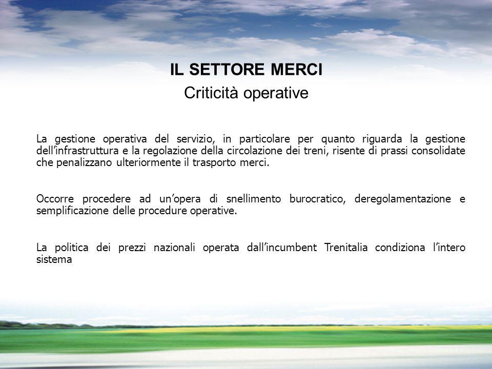 PROFILO DEL GRUPPO LA LIBERALIZZAZIONE DEL TRASPORTO MERCI PROBLEMI APERTI La gestione operativa del servizio, in particolare per quanto riguarda la g