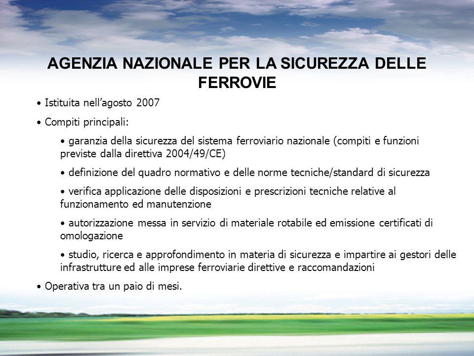 PROFILO DEL GRUPPO LA LIBERALIZZAZIONE DEL TRASPORTO MERCI PROBLEMI APERTI AGENZIA NAZIONALE PER LA SICUREZZA DELLE FERROVIE Istituita nellagosto 2007 Compiti principali: garanzia della sicurezza del sistema ferroviario nazionale (compiti e funzioni previste dalla direttiva 2004/49/CE) definizione del quadro normativo e delle norme tecniche/standard di sicurezza verifica applicazione delle disposizioni e prescrizioni tecniche relative al funzionamento ed manutenzione autorizzazione messa in servizio di materiale rotabile ed emissione certificati di omologazione studio, ricerca e approfondimento in materia di sicurezza e impartire ai gestori delle infrastrutture ed alle imprese ferroviarie direttive e raccomandazioni Operativa tra un paio di mesi.